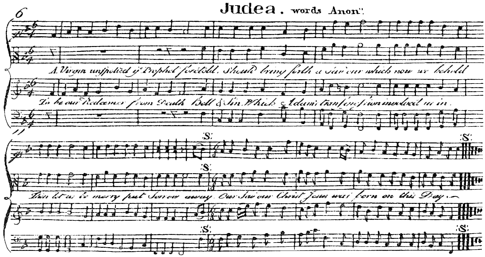 A facsimile of William Billings' Judea as published in The Singing Master's Assistant, published in 1778 in Boston.
